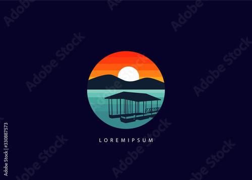 Photo Lake dock logo. silhouette circle lake dock illustration vector