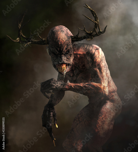 Photographie A horrifying monster with pale skin, long claws, sharp teeth, and an elongated head with antlers emerges from the night mists