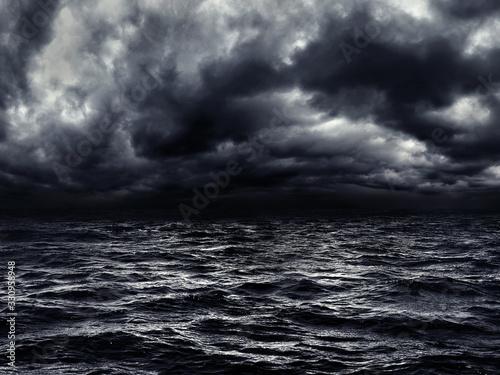 Obraz na plátně dark stormy sea with a dramatic cloudy sky