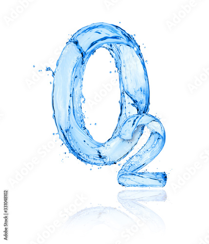 Photo Chemical formula of oxygen made of water splashes on a white background