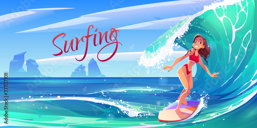 Obraz na płótnie Young surf girl riding ocean wave on board, summer surfing activity, sports recreation, sea leisure hobby