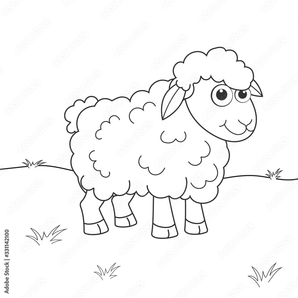 Coloring page outline of cartoon sheep. Page for coloring book of funny lamb for kids. Activity colorless picture about cute animals. Anti-stress page for child. Black and white vector illustration. <span>plik: #331142100 | autor: KidLand</span>