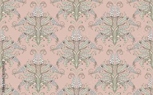 Fotografie, Obraz Damask seamless emboss pattern background