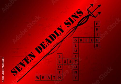 Obraz na plátně Seven Deadly Sins Blackground with crossword