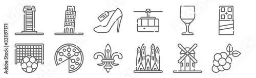 Fotografia set of 12 travel icons