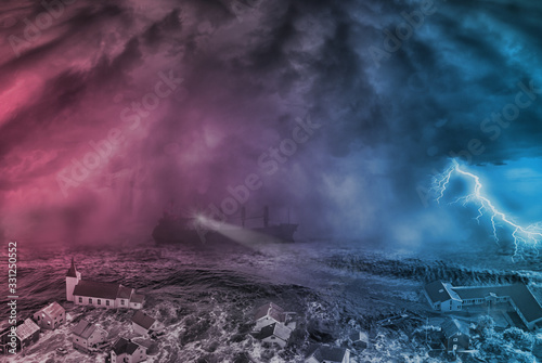 Wallpaper Mural flood  in the city and storm in the sea, Judgment Day concept