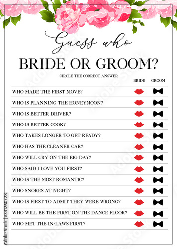 Photo Guess Who Bride or Groom Game, Bridal Shower Games, printable vector card