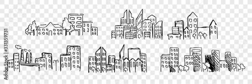 Obraz na płótnie Hand drawn buildings, skyscrapper set collection