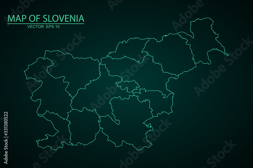 Canvas Print A Map of the country of Slovenia, High detailed blue vector map - Slovenia, Vector map-slovenia country on white background