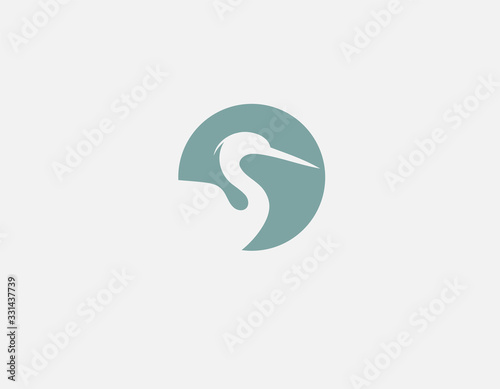 Abstract geometric logo icon heron silhouette in a circle for your company Fototapet