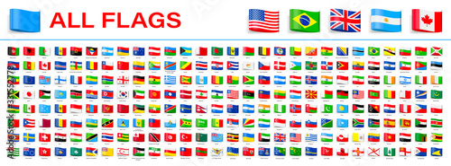Stampa su Tela All World Flags - Vector Tag Label Flat Icons