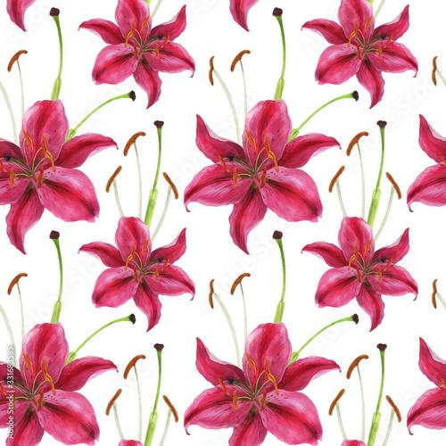 Stargazer lily watercolor pink seamless pattern Fototapete