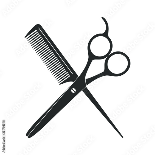 Photo Scissors and hairbrush graphic icon