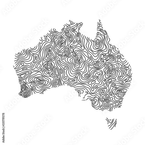 Photo Australia map from black isolines or level line geographic topographic map grid