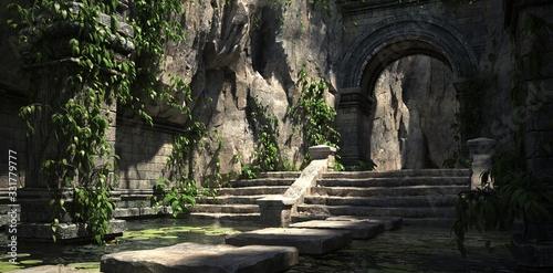 Ruins of the sacred temple with green vegetation Fototapeta