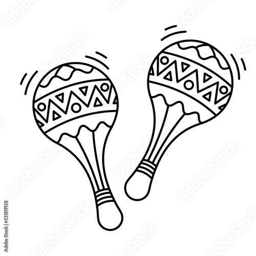 Canvas Print Contour design maracas and the icon of the ancient tool