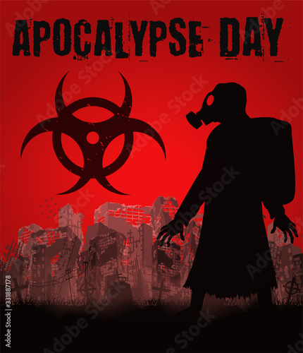 Fotografia Apocalypse day with gas mask man in ruined city