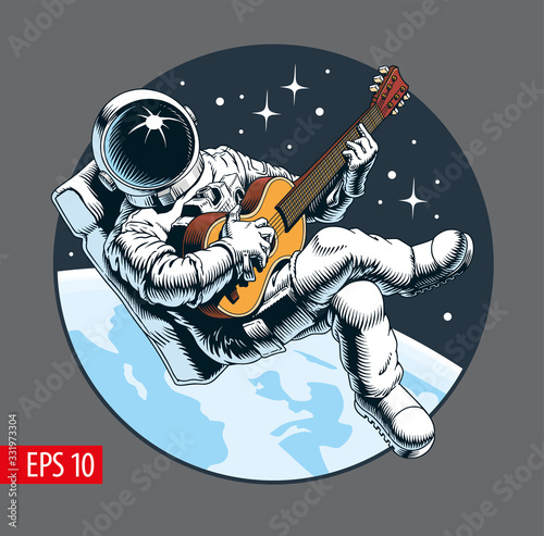 Photographie Astronaut playing guitar in space