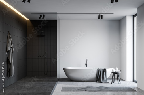 Leinwand Poster White and black bathroom with tub and shower