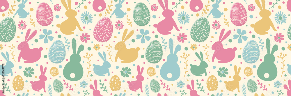 Easter concept with colourful eggs, bunnies and flowers. Seamless pattern. Banner. Vector <span>plik: #332145779 | autor: Karolina Madej</span>