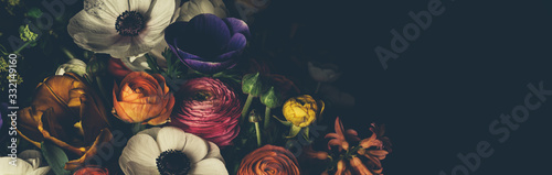 Vintage bouquet of beautiful different flowers. Floral background.