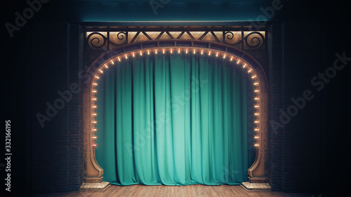 Leinwand Poster Dark empty cabaret or comedy club stage with green curtain and art nuovo arch