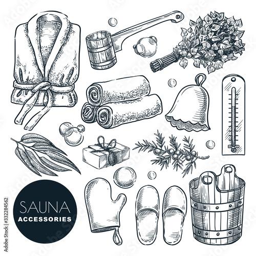 Fotografía Sauna and bathhouse accessories set