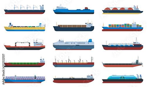 Slika na platnu Barge vector cartoon set icon