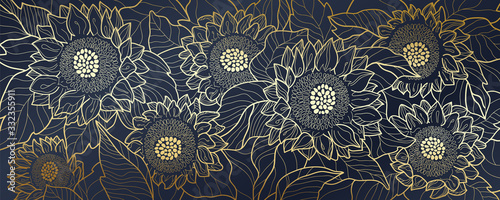 Sunflower line arts luxury wallpaper design for fabric, prints and background texture, Vector illustration.