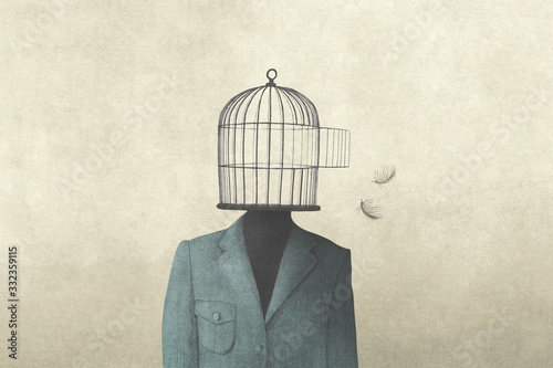 illustration of man with open birdcage over his head, surreal freedom concept Fototapet