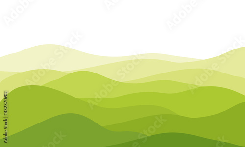 Fotografie, Tablou abstract fields, green waves hills on white background, vector illustration