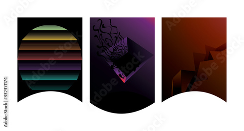 Fotografia Abstract triptych compositions in the dark with wavy frames; rainbow stripes, neon purple hole, cracked earth