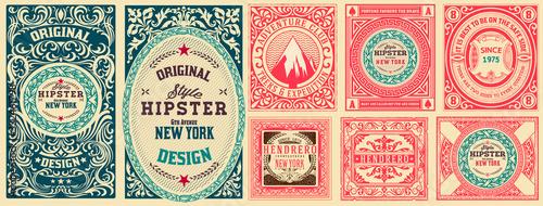 Set of 8 vintage labels. Vector layered