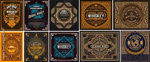 Mega set of 10 vintage labels. Vector layered