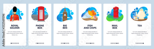 Photographie England website and mobile app onboarding screens vector template