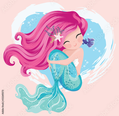 Canvas Print Little cute mermaid with fishes and seashells