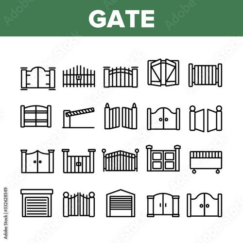 Cuadros en Lienzo Gate Entrance Tool Collection Icons Set Vector