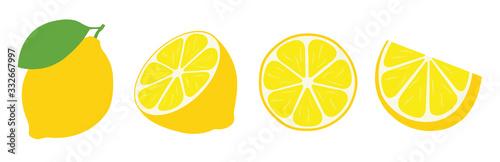 Fototapeta Fresh lemon icon vector illustrations