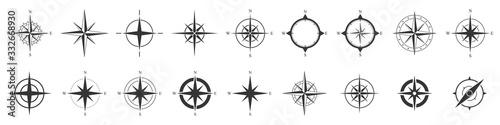 Obraz na plátně Compass icons set. Vector compass icons.