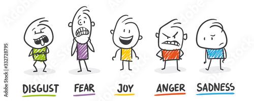 Foto Strichfiguren / Strichmännchen: Disgust, Fear, Joy, Anger, Sadness