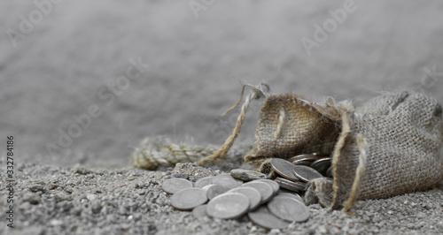 Valokuva sack with the thirty silver coins biblical symbol of the betrayal of judas