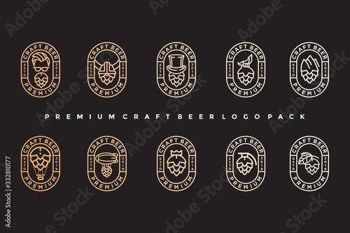 Obraz na plátně pack of vintage craft beer logo. simple icon, template design