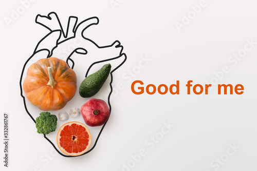 Photo Healthy nutrition and cardiology
