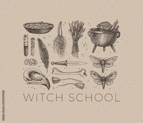 Fotografia Monochrome set of mystical items for witchcraft