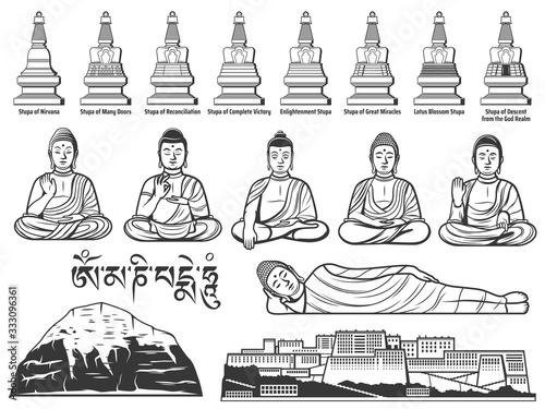 Photo Buddhism religion symbols with vector sketches of Buddha statues with different hand positions or mudras, Tibetan Buddhist Great Stupas, Potala Palace and sacred Mount Kailash