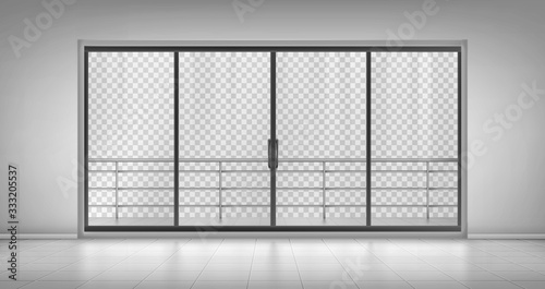 Glass window door with balcony railings and closed doors isolated on transparent background. Empty room with tiled floor, hotel apartment, mall, office interior design, Realistic 3d vector mock up