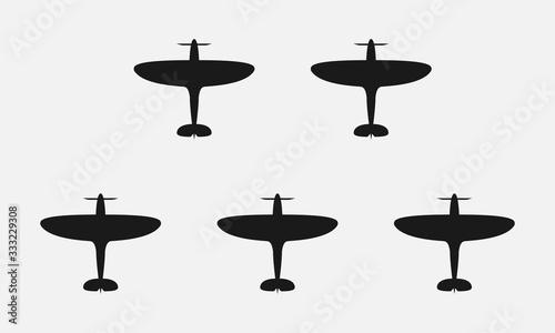 Fotografie, Obraz WW2 plane black and white vector icon.
