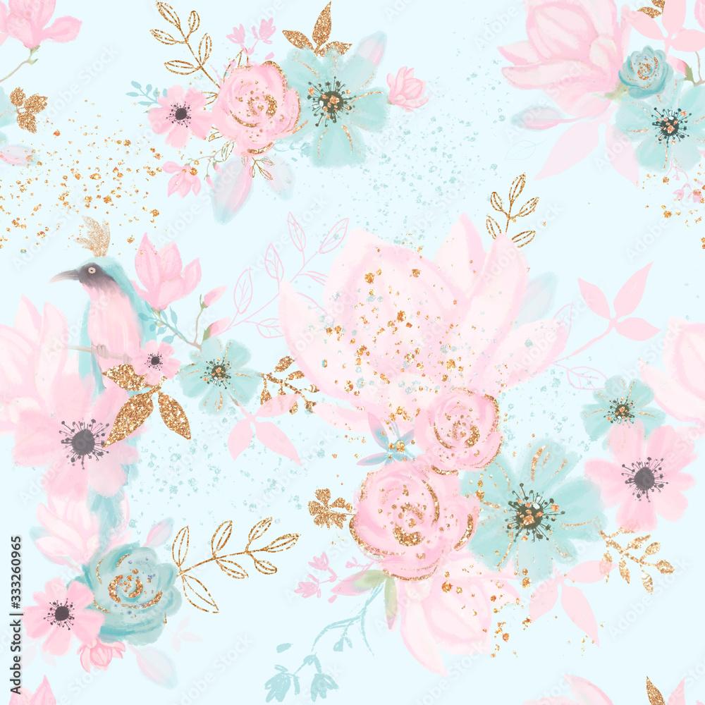 Floral seamless pattern with blue bird, pink flowes, gold leaves. Kids room wallpaper <span>plik: #333260965   autor: Fleur*Design</span>