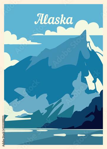 Obraz na plátne Retro poster Alaska city skyline. vintage vector illustration.