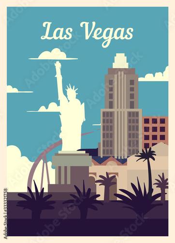 Retro poster Las Vegas city skyline vintage, vector illustration. Fototapeta
